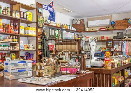 ROSA BROOK AUSTRALIA - APRIL 5 2016: The colorful interior of Darnells General Store in Rosa Brook in the Margaret River area of Western Australia is a nostalgic and quaint reminder of the past.