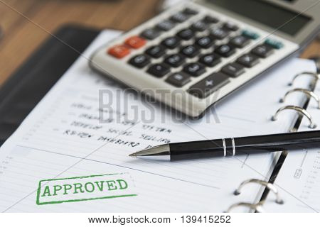 Workspace Business Accounting Approval Concept