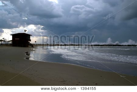Deserted Beach On A Stormy Day