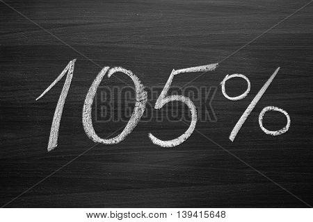 105 percent header written with a chalk on the blackboard
