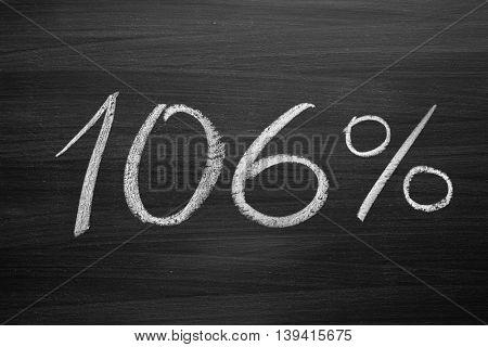 106 percent header written with a chalk on the blackboard