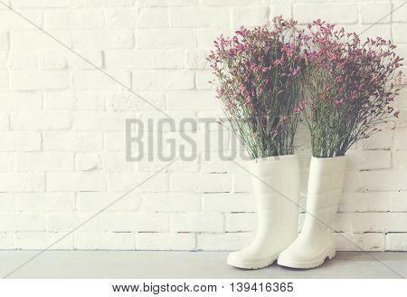 Background Gumboots Plant Gardener Concept