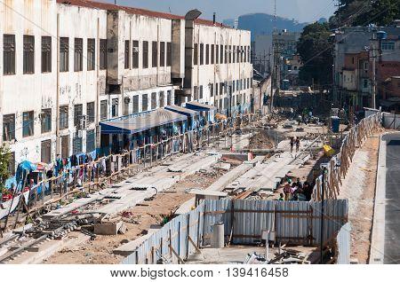 Rio de Janeiro, Brazil - July 14, 2016: Tramway implantation site in abandoned areas of Rio de Janeiro city