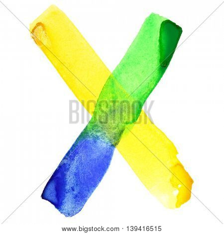 Letter X - Vivid watercolor alphabet. Colours resemble flag of Brazil