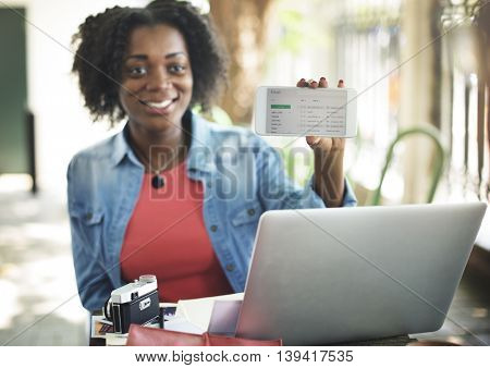 African Woman Email Connection Global Communications Concept