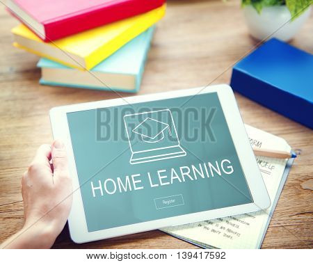 Home Learning Webpage Register Button Concept