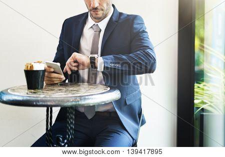 Businessman Waiting Coffee Break Concept