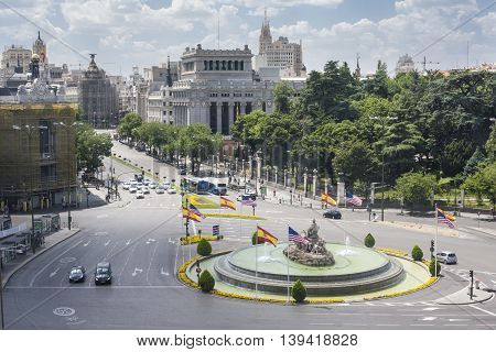 Aerial view of Cibeles fountain at Plaza de Cibeles in Madrid in a hot summer day Spain