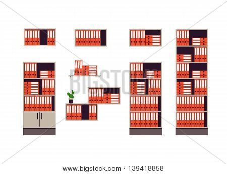 Cabinets and shelves for storage of documents isolated on white background. Red folders are in order. Flat style. Vector