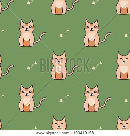 Orange cute cartoon cat seamless background. Simple and nice