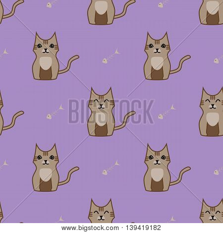 Brown cartoon cute cat seamless background. Simple and nice