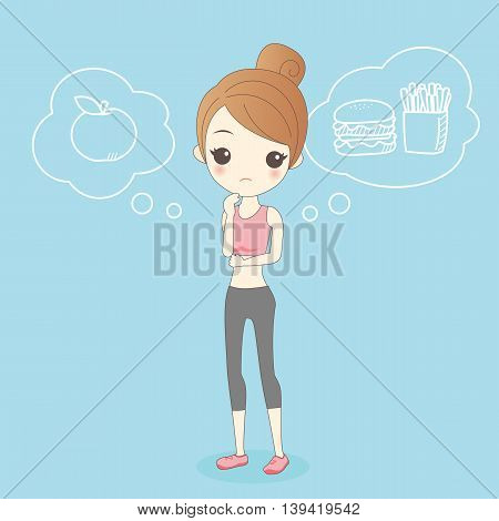 cartoon healthy girl thinking eat apple or Hamburger
