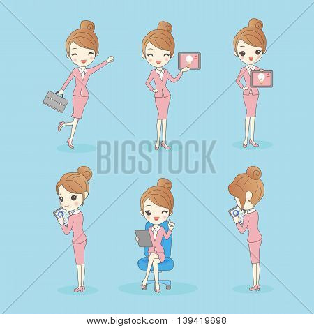 Business woman look happily and show tablet pc