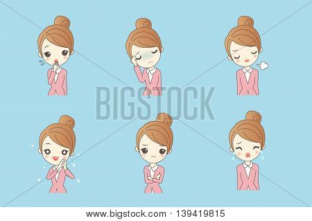 cartoon businesswoman is making variety of expressions