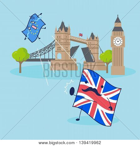EU flag and British flag with Big Ben clock and tower bridge