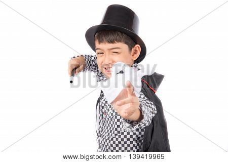 Little boy pretend as a magician performance with fun