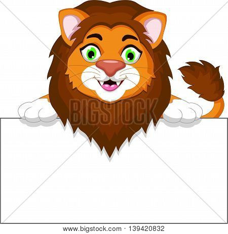 funny lion cartoon holding a blank sign