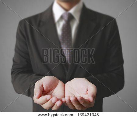 Business man empty open hands