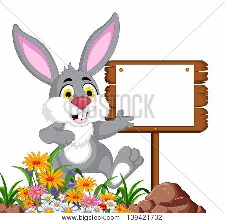funny rabbit cartoon posing with blank sign