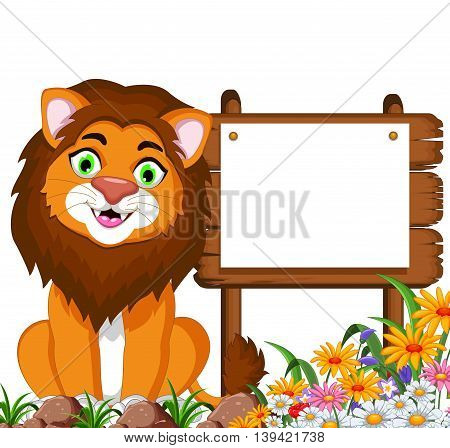 funny lion cartoon posing with blank sign