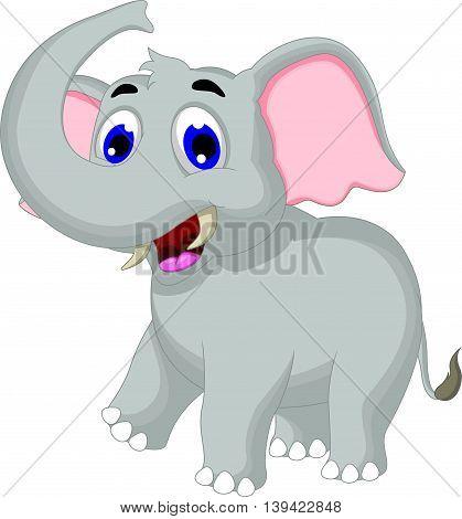 Cute elephant cartoon posing for you design