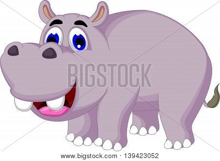funny hippo cartoon posing for you design