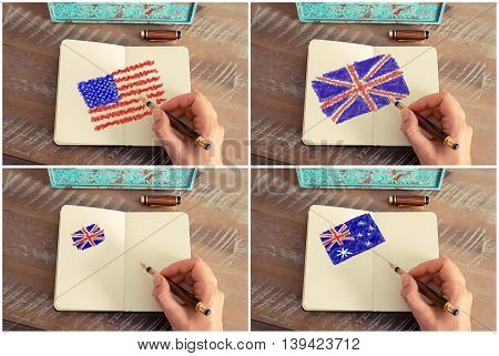 Photo collage of a woman hand drawing United States Australia and United Kingdom flags with a fountain pen on notebook.