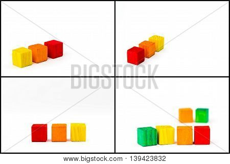 Photo collage with toy wooden colored blocks isolated on white background copy space available