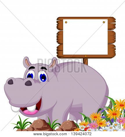 funny hippo cartoon with a blank board