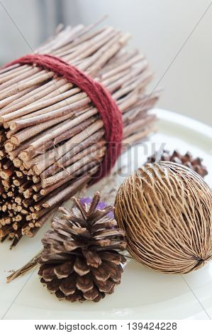 image of Pinecones and dried Plants, home decoration