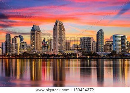 San Diego, California, USA downtown skyline.