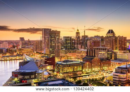 Baltimore, Maryland, USA downtown skyline.