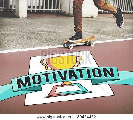 Motivation Aspiration Trophy Award Concept