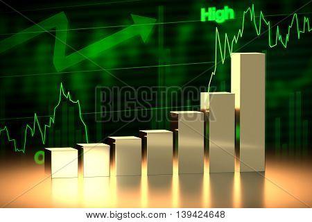 Bull Stock Market Chart, 3D Rendering