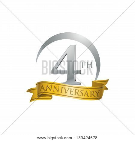 4th anniversary gold logo template. Creative design. Business success