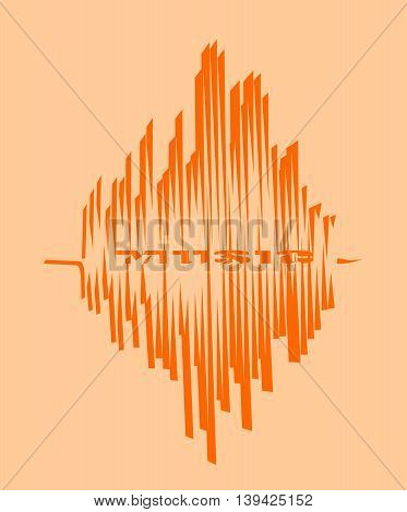 Orange sound range curve with music word within