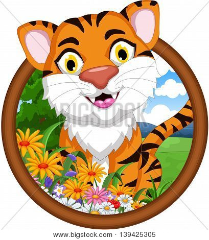 cute baby tiger cartoon smiling in frame