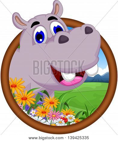 cute hippo cartoon smiling in the frame