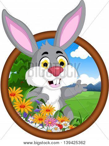 cute rabbit smiling cartoon in a  frame