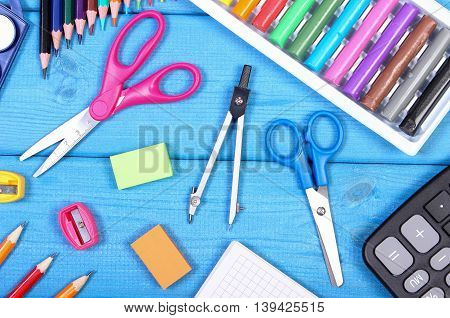 School Accessories On Blue Boards, Back To School Concept
