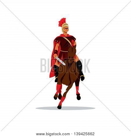 Warrior in armor on horse. Isolated on a white background