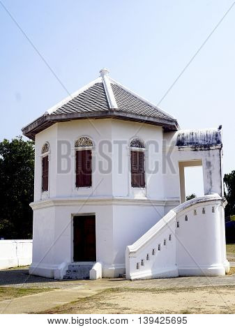 white Ancient building in temple Uthaithani thailand