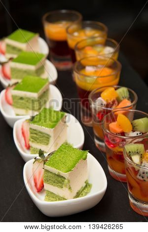 A green tea Mini cake delicious and beautiful.