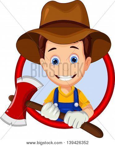 funny lumberjack cartoon holding axe in frame