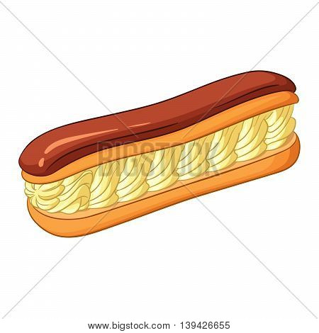 Eclair pastry filled with a cream and topped with chocolate icing. Vector illustration isolated on white background.