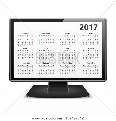 Computer with 2017 calendar, vector eps10 illustration