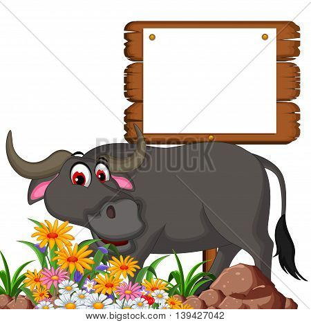 cute buffalo cartoon posing with blank board for you design
