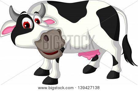funny cow cartoon posing for you design
