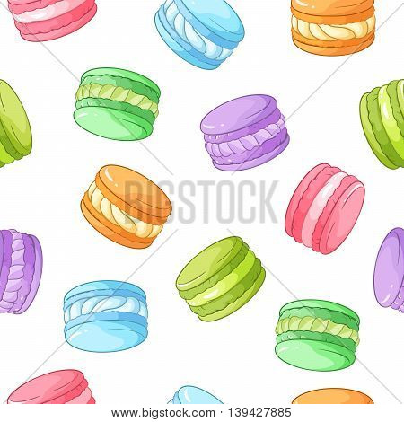 Bright colorful macarons seamless vector pattern isolated on white background.