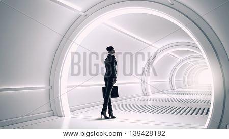 Woman in futuristic interior. Mixed media . Mixed media